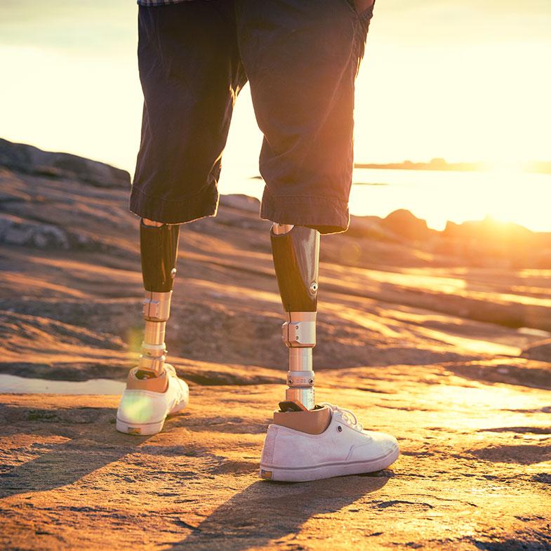 prosthetics and sunset